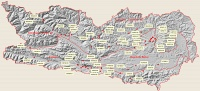 Bild Karte der vier Großregionen Kärntens und und besammelte Gehölzbestände 2019